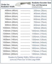 Radiator Boosters Size Chart My Homeware Ltd