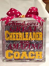 this custom gl block is a great unique gift for any amazing cheerleading coach customized in the team colors and the year and cheerleaders