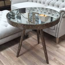 round mirrored cowparsley etched three leg side table