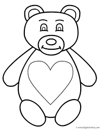 Small Picture Teddy Bear Coloring Page Valentines Day