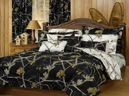 cool bedroom with brown polish wood king bed and black white camo inside camo bed sets
