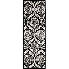 safavieh chelsea black ivory 3 ft x 12 ft runner rug
