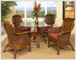 boca rattan moroccan rattan dining set 5 pieces 4 arm chairs round dining table