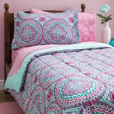 Teen Girls Bedding Twin Mint Green Teal Purple Comforter Set Pink Floral  Bed Bag