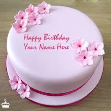 write name on cake pink birthday cake with name