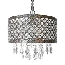 1 light silver and crystal chandelier with lattice shade