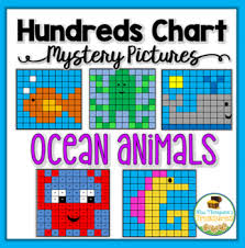 Aquatic Animals Chart Ocean Animals Hundreds Chart Mystery Pictures