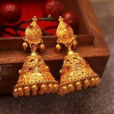 South Indian Traditional Gold Earrings Designs 21 Gorgeous South Indian Style Gold Jhumka Designs South