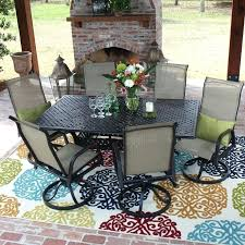 6 person patio table bay 7 piece sling patio dining set with swivel rockers and rectangular 6 person patio table