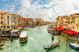 boats and gondolas on the grand c of venice oil painting effect stock photo