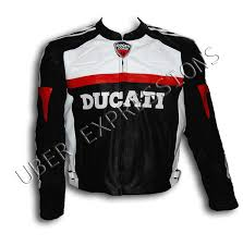 ducati corse black red motorbike racing armor leather jacket uber expressions