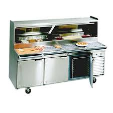 86 refrigerated three door pizza prep table