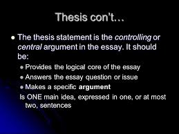 essay analysis unit ppt video online  the thesis statement is the controlling or central argument in the