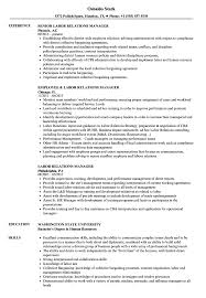 Labor Relations Manager Resume Samples Velvet Jobs