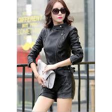 hugme fashion las short leather jacket slim fit new biker red jacket women ljk36