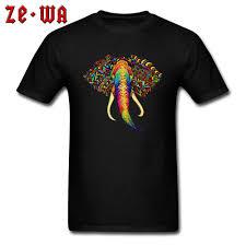 Elephant Shirt Design Us 5 49 55 Off Elephant Tops Tees Art Design Men T Shirt Mens Tshirt Guys Colorful Animal Print T Shirts Slim Fit Street Clothes Cotton Black In