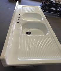 Sink Enamel Paint Vintage Double Basin Drainboard Cast Iron Farm Farmhouse Kitchen