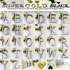 26 letters diy 3d silver mirror wall sticker acrylic mirrored decorative stickers wall decals mirror lettering alphabet decor vinyl wall graphic vinyl wall