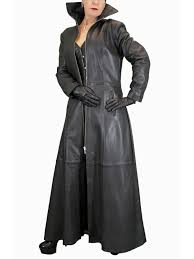las long black leather gothic coat red and black lining
