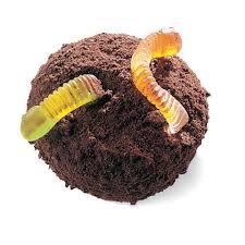 Chocolade muffins met wormen