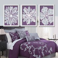 Purple Flower Wall Art - Flower Burst Baby Girl Nursery Wall Art - Girl Bedroom  Pictures - Girl Nursery Artwork Set of 3 Canvas or Prints