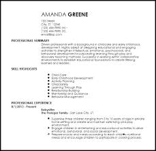 Nanny Resume New Free EntryLevel Nanny Resume Templates ResumeNow
