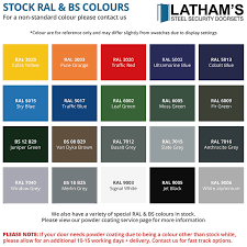 Powder Coating Colour Chart Uk Door Alterations Modifications Lathams Steel Security Doors