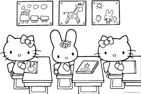 Hello kitty was born on november 1 in the suburbs of london and she lives there with her parents george and mary, and her twin sister, mimmy. Hello Kitty Coloring Pages Cartoons Back To School Hello Kitty Printable 2020 3139 Coloring4free Coloring4free Com