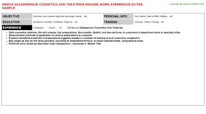 Salesperson Cosmetics And Toiletries Resume Sample Career Cover Letter