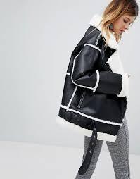 women s monki faux leather shearling biker jacket j66u2