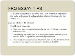 writing the ap us history response question frq ppt 11 frq essay tips