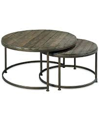 round wood metal coffee table link wood set of 2 round nesting coffee tables round reclaimed