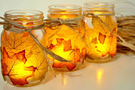 Decorated Jam Jars For Christmas Autumn Leaf Mason Jar Candle Holder 22