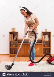 Cleaner House Cleaning The House Woman Using Vacuum Cleaner Stock Photo