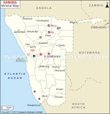 Namibia Distance Chart Namibia Mineral Map Natural Resources Of Namibia