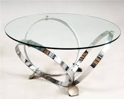 round black glass and chrome coffee table modern round glass