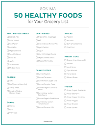 Grocer List 50 Healthy Foods To Add To Your Grocery List Sonima