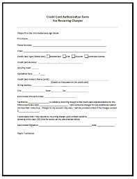 Credit Card Authorization Form Template Besttemplates123