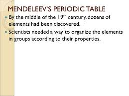 MENDELEEV'S PERIODIC TABLE By the middle of the 19 th century ...