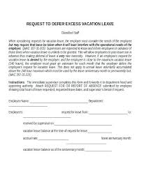 Time Off Request Letter Leave Sample Letters Annual Format