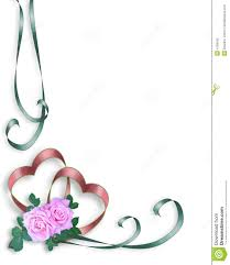 Wedding Invitation Border Hearts And Pink Roses Stock Illustration