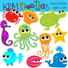 cute sea animals clipart. Fine Animals KPM Bright Sea Creatures Digital Clip Art COMBO On Cute Animals Clipart