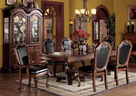 classic leather upholstered dining chairs with traditional buffet for antique dining room design