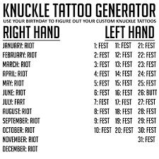 Riot Fest On Twitter Knuckle Tattoo Generator Httpstcokqy5wjnppo