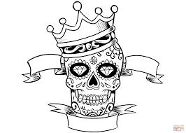Small Picture Sugar Skull with Crown coloring page Free Printable Coloring Pages