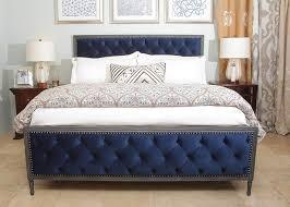 tufted bed. Chelsea Tufted Velvet Bed Blue / Grey Finish