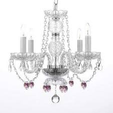 empress crystal 4 light crystal chandelier with pink crystal hearts