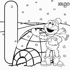 Small Picture Elmo in Front of Igloo Coloring Page NetArt