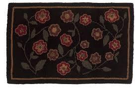 red flowers rug hooked wool