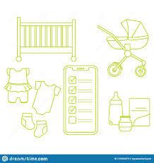 Baby Supplies Checklist Smartphone With Checklist Newborn Baby Accessories Stock